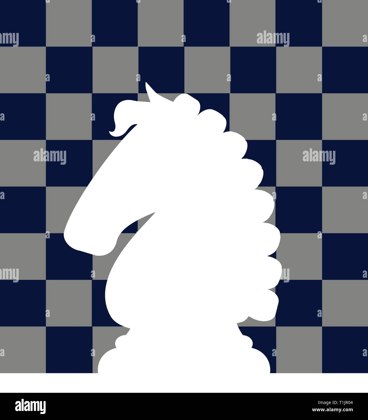 White knight chess piece reversed out of chess board background