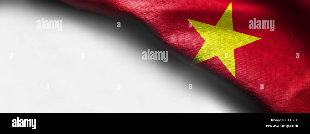 Waving flag of Vietnam - on white background - right top corner flag - Stock Image