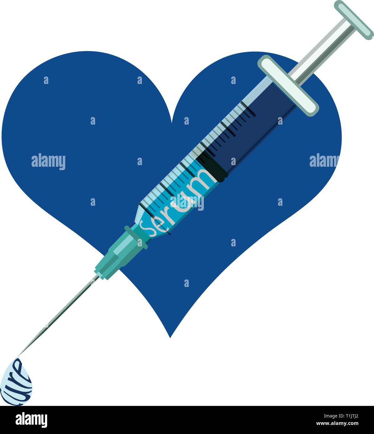 Medical injection needle,in front of a heart, with serum, injection cure syring - Stock Vector