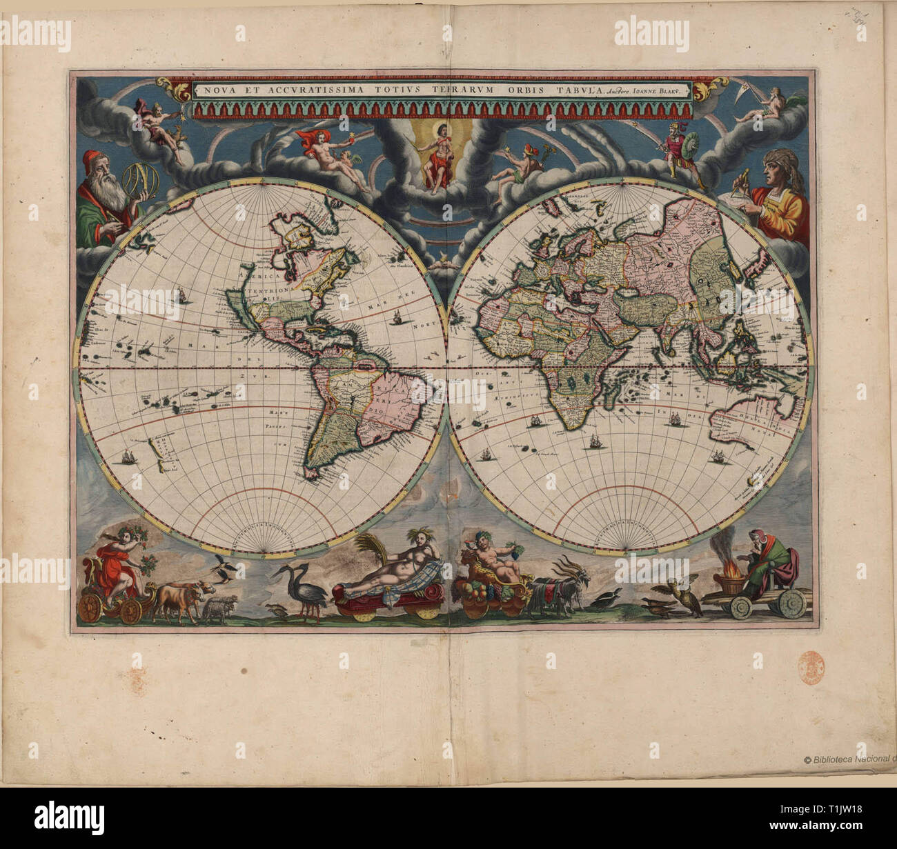 Blaeu's Atlas Maior (1662–1672), a monumental multi-volume world atlas from the Golden Age of Dutch/Netherlandish cartography (c. 1570s–1670s) and a widely recognized masterpiece in the history of mapmaking. Willem Blaeu and his son Joan Blaeu were both official cartographers to the VOC. - Stock Image