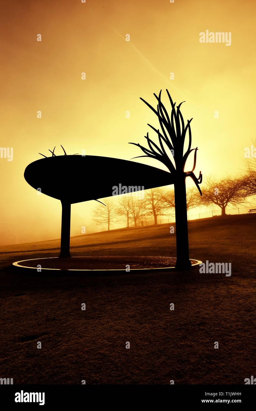 A misty morning sunrise,Glebe park,Bowness on Windermere,Lake District,Cumbria,England,UK Stock Photo