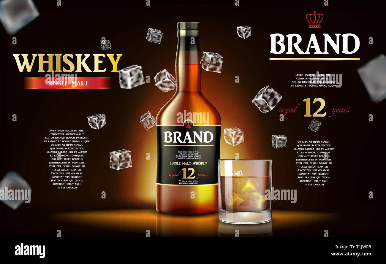 Whiskey ads label design. Realistic glass whiskey bottle with flying ice cubes on dark background. Vector 3d illustration Stock Vector