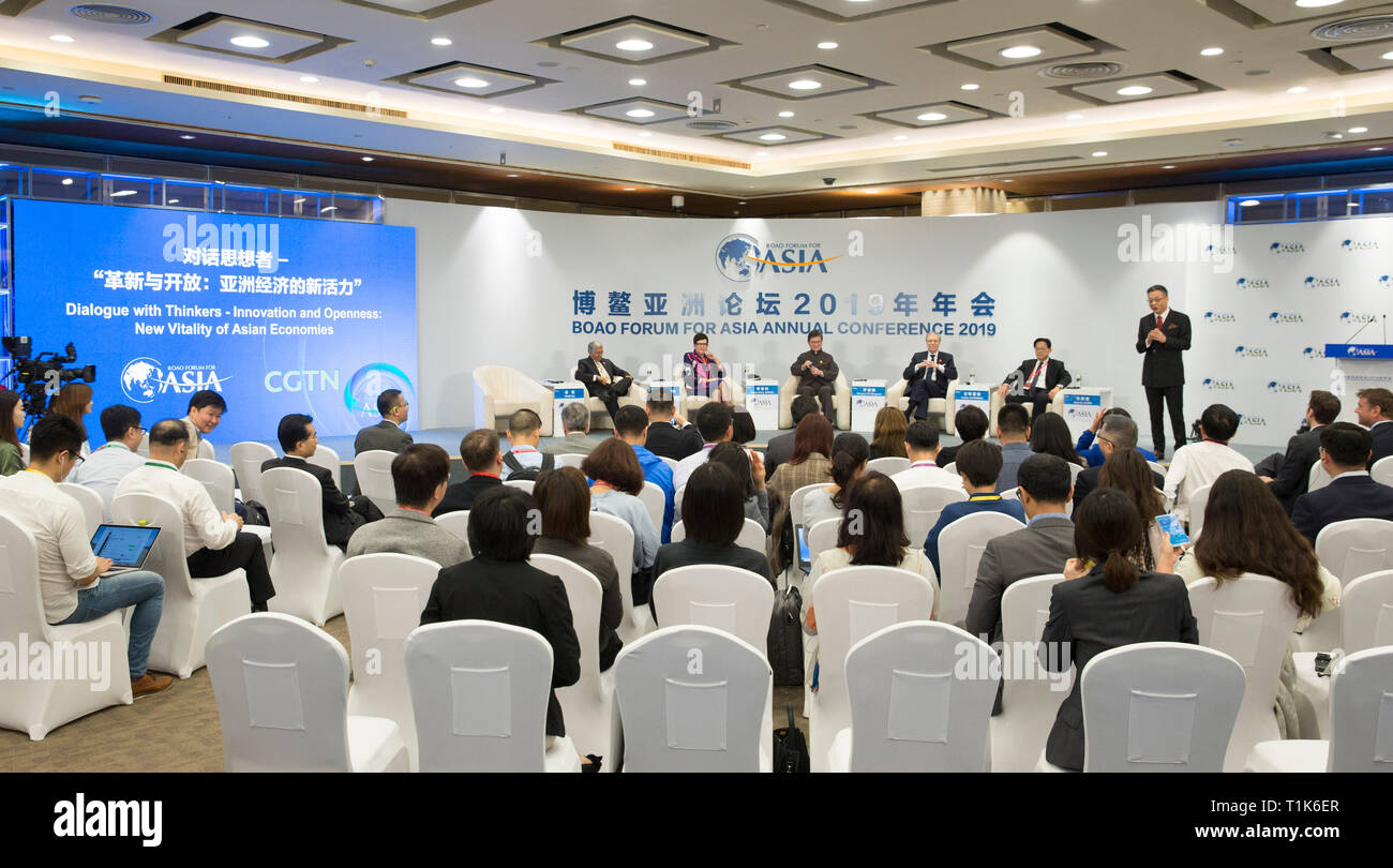 Boao, China's Hainan Province. 27th Mar, 2019. People attend the session of 'Dialogue with Thinkers - Innovation and Openness: New Vitality of Asian Economies' during the Boao Forum for Asia annual conference in Boao, south China's Hainan Province, March 27, 2019. Credit: Hou Dongtao/Xinhua/Alamy Live News - Stock Image