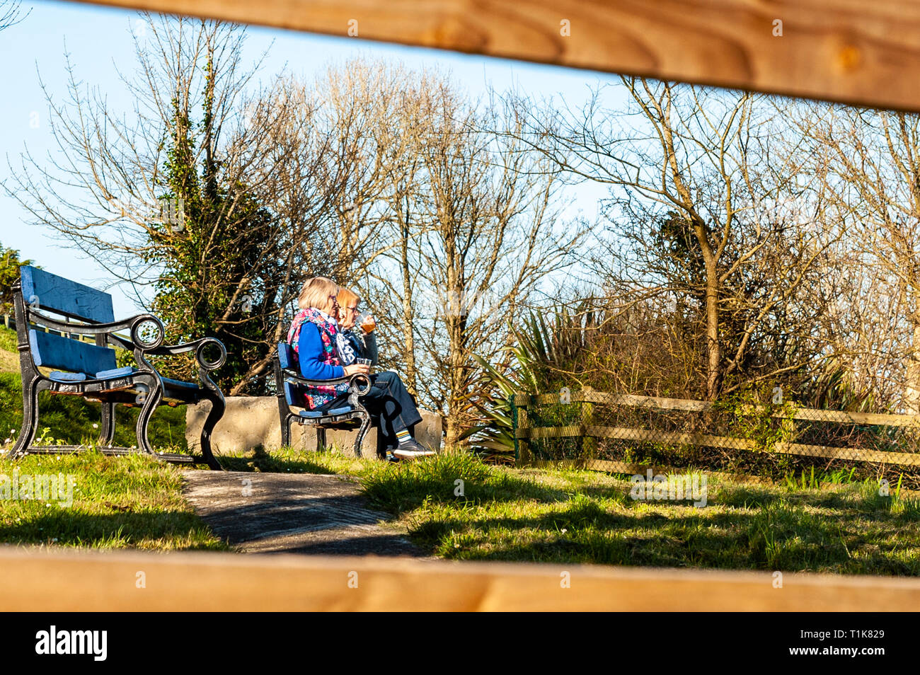 Schull, West Cork, Ireland. 27th March, 2019. Two ladies enjoy the view of Schull Harbour at the end of a beautiful day in West Cork. The remainder of the day will be sunny with highs of 12° Celsius. Credit: Andy Gibson/Alamy Live News. - Stock Image