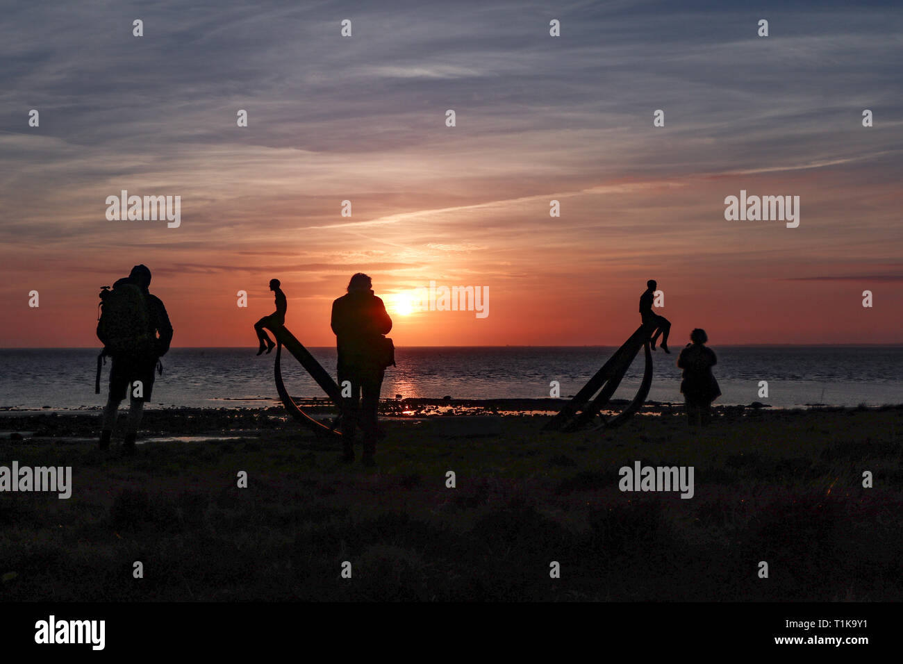 Half Moon Bay, Heysham, Lancashire, 27th March 2019 Anna Gillespies The Ship has gone on display at Halfmoon Bay at Heysham the sculpture comissioned by MOrecambe Bay Partnerships and Deco Publique as part of the Headlands to Headspace public realm sculptures project which was launched last summer Credit: Photographing_North/Alamy Live News - Stock Image