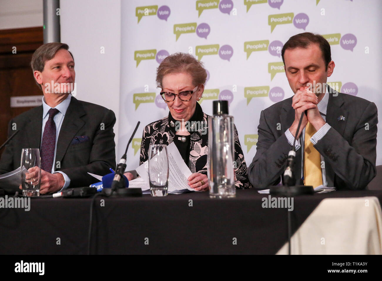 London, UK, UK. 27th Mar, 2019. Conservative former Attorney General (L), Dominic Grieve MP - Labour former Foreign Secretary (C), Margaret Beckett MP - SNP Foreign Affairs and Europe (R) Stephen Gethins are seen at a People's Vote press conference in Westminster setting out an analysis of the different Brexit options facing Members of Parliament in indicative votes. British Prime Minister Theresa May told the backbench Tory MPs this evening that she will stand down if they back her EU withdrawal deal. Credit: Dinendra Haria/SOPA Images/ZUMA Wire/Alamy Live News Stock Photo