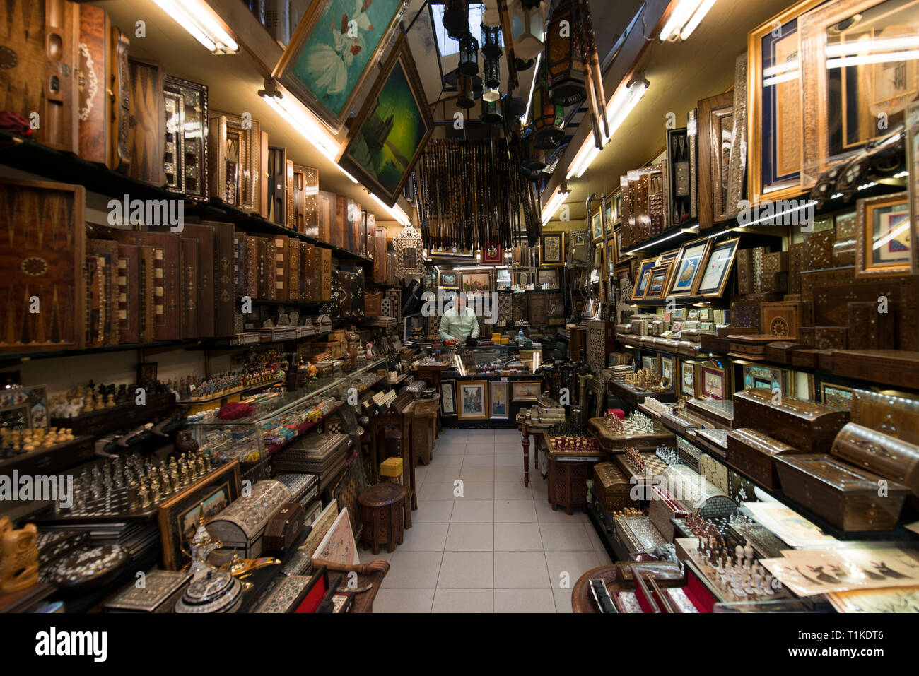 Grand Bazaar, Istanbul, Turkey - 04 23 2016: Antiquarian old and traditional wooden shop in the Grand Bazaar, Istanbul, Turkey - Stock Image