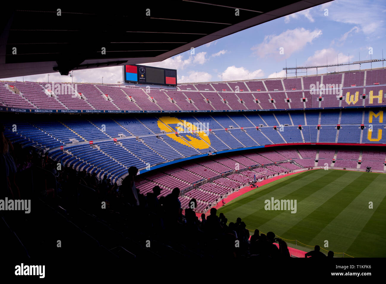 Interior of the stadium stands and indoor spaces Camp Nou In Barcelona Spain - Stock Image
