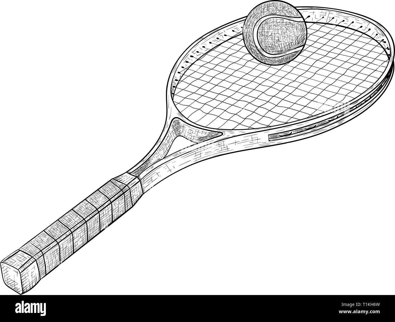 Tennis Racket With A Ball Hand Drawn Sketch Stock Vector Image Art Alamy