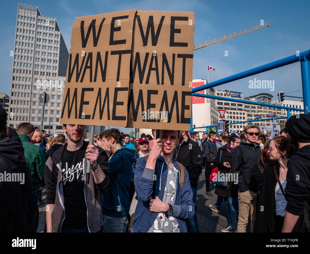 Berlin, Germany - March 23, 2019: Demonstration against EU Internet copyright reform / article 11 and article 13 in Berlin Germany Stock Photo