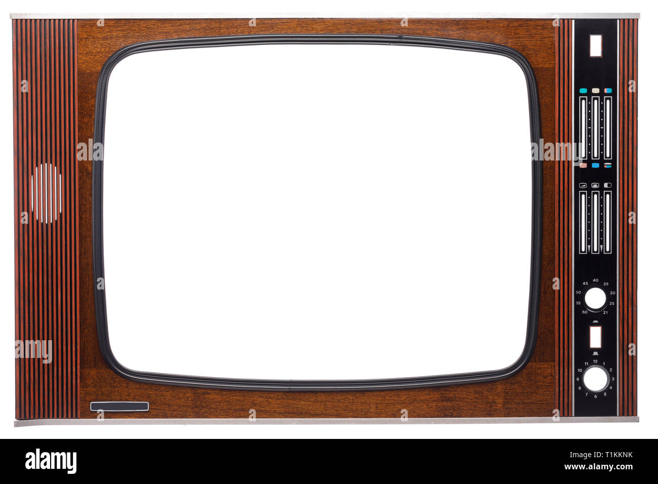 Front panel of vintage veneer decorated CRT television set made in USSR with cut out screen and controls isolated on white background - Stock Image