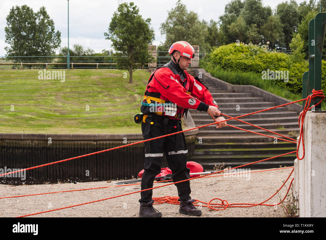 Humberside Fire and Rescue Service doing a river rescue training exercise at the Tees Barrage,Stockton-on-Tees,England,UK - Stock Image