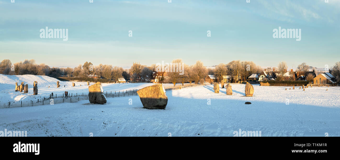 Avebury Stone Circle After a Heavy Fall of Snow - Stock Image