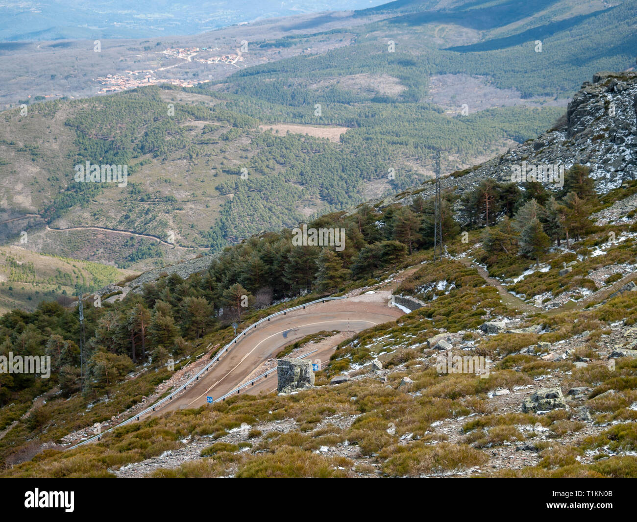 Very closed curve on a dangerous high mountain road from an aerial view on Pena de Francia, La Alberca (Salamanca) - Stock Image