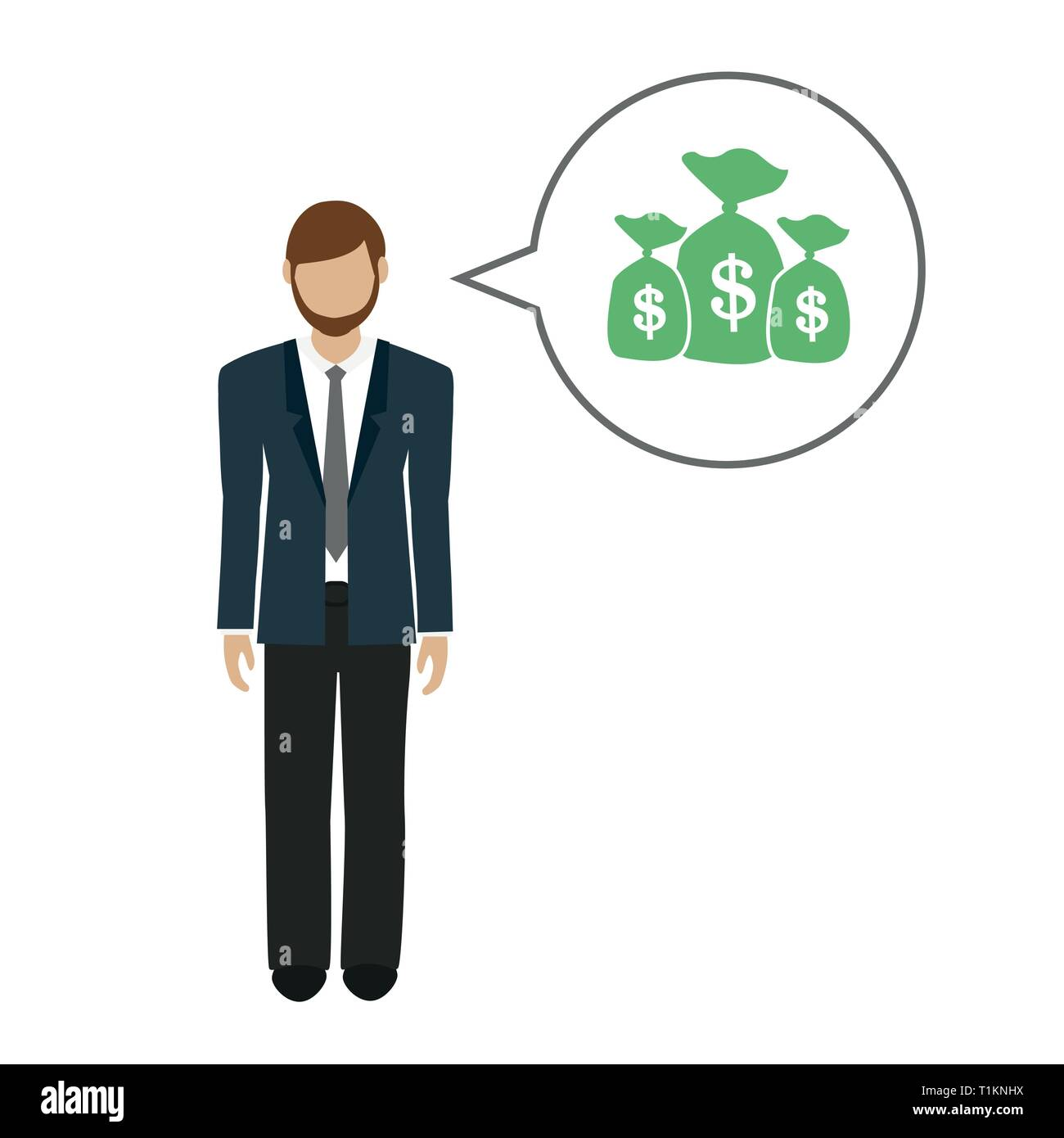 business man character talks about money dollars vector illustration EPS10 - Stock Vector
