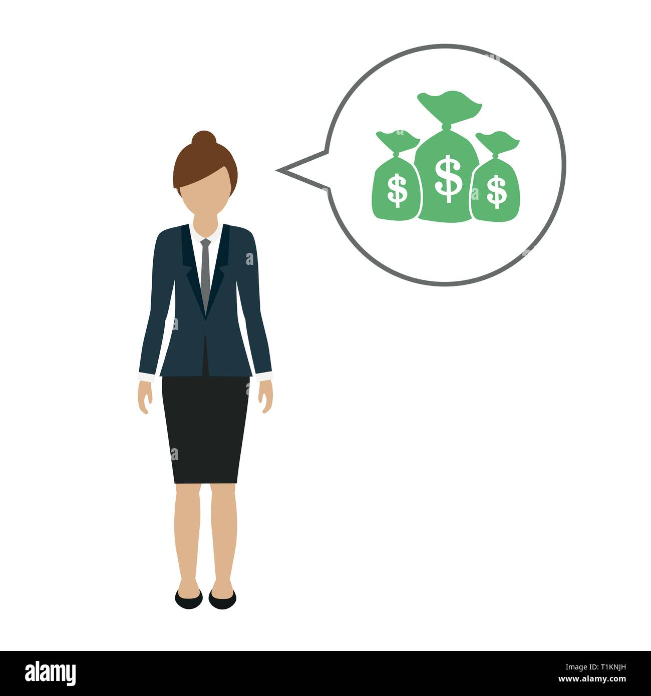 business woman character talks about money dollars vector illustration EPS10 - Stock Vector