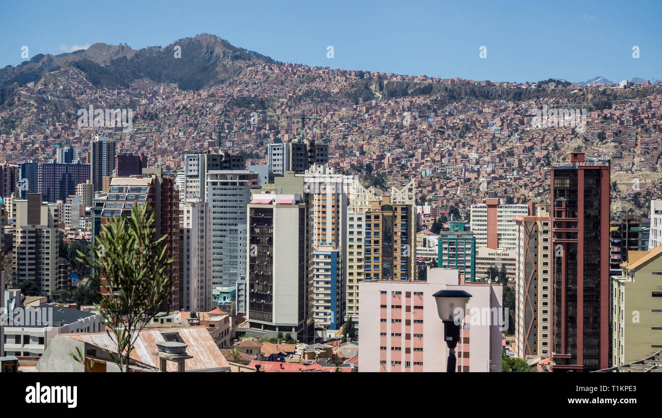 Building and cityscape in La Paz in Bolivia. Detail of the middle town and the hills - Stock Image