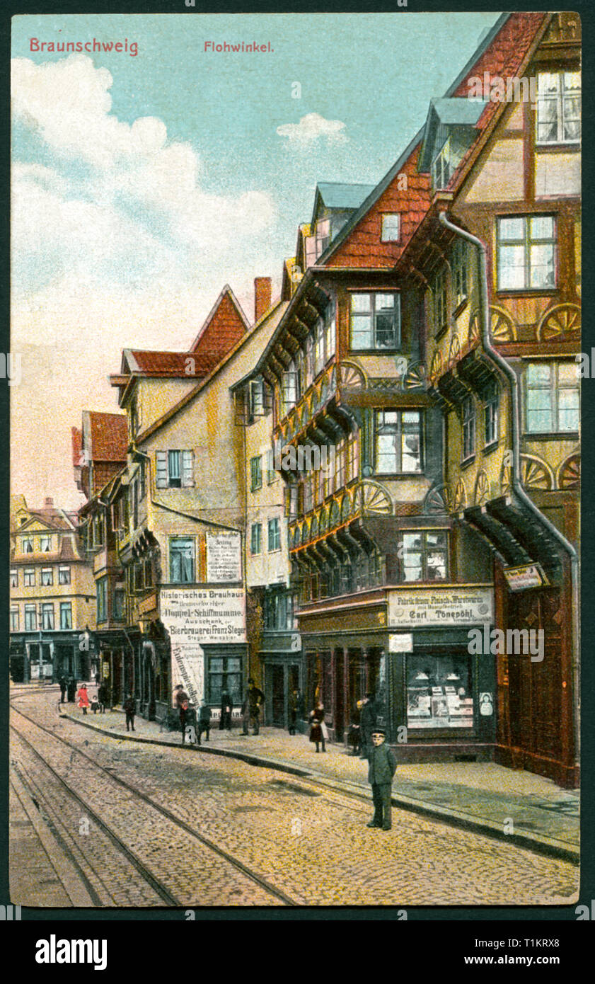 geography / travel, Germany, Lower Saxony, Brunswick, street Flohwinkel with half-timbered houses, postcard, sent 1909., Additional-Rights-Clearance-Info-Not-Available - Stock Image