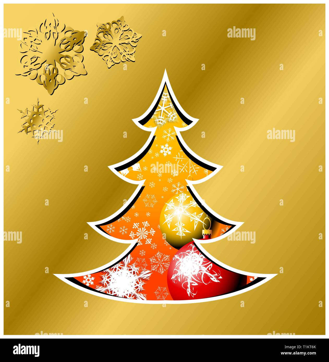 Christmas card - christmas tree with bulbs and snowflakes - Stock Vector