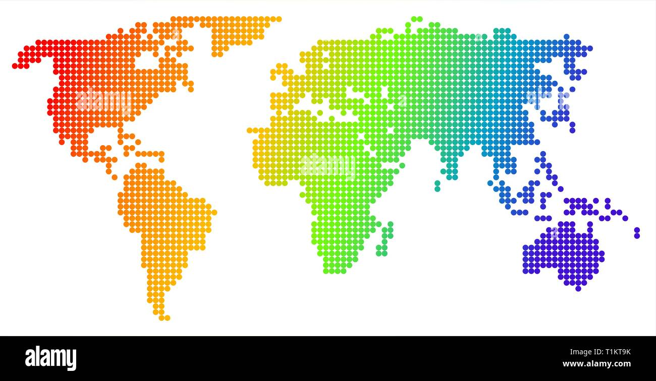 Map of the world, made from color dots Stock Vector