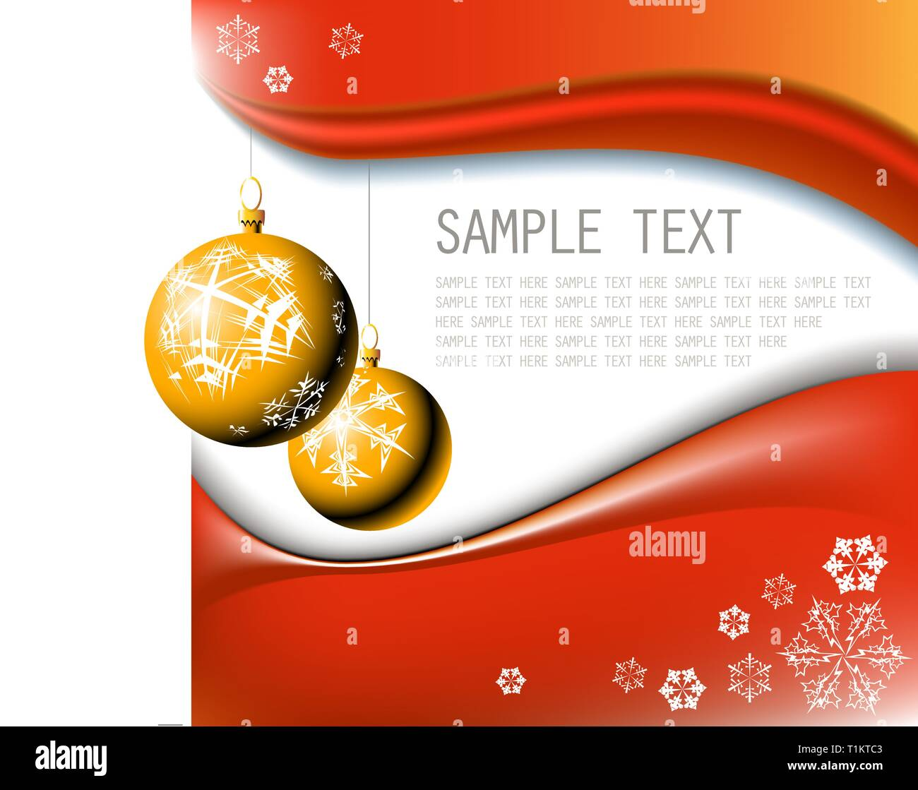 Golden Christmas bulbs with snowflakes on red background - Stock Vector