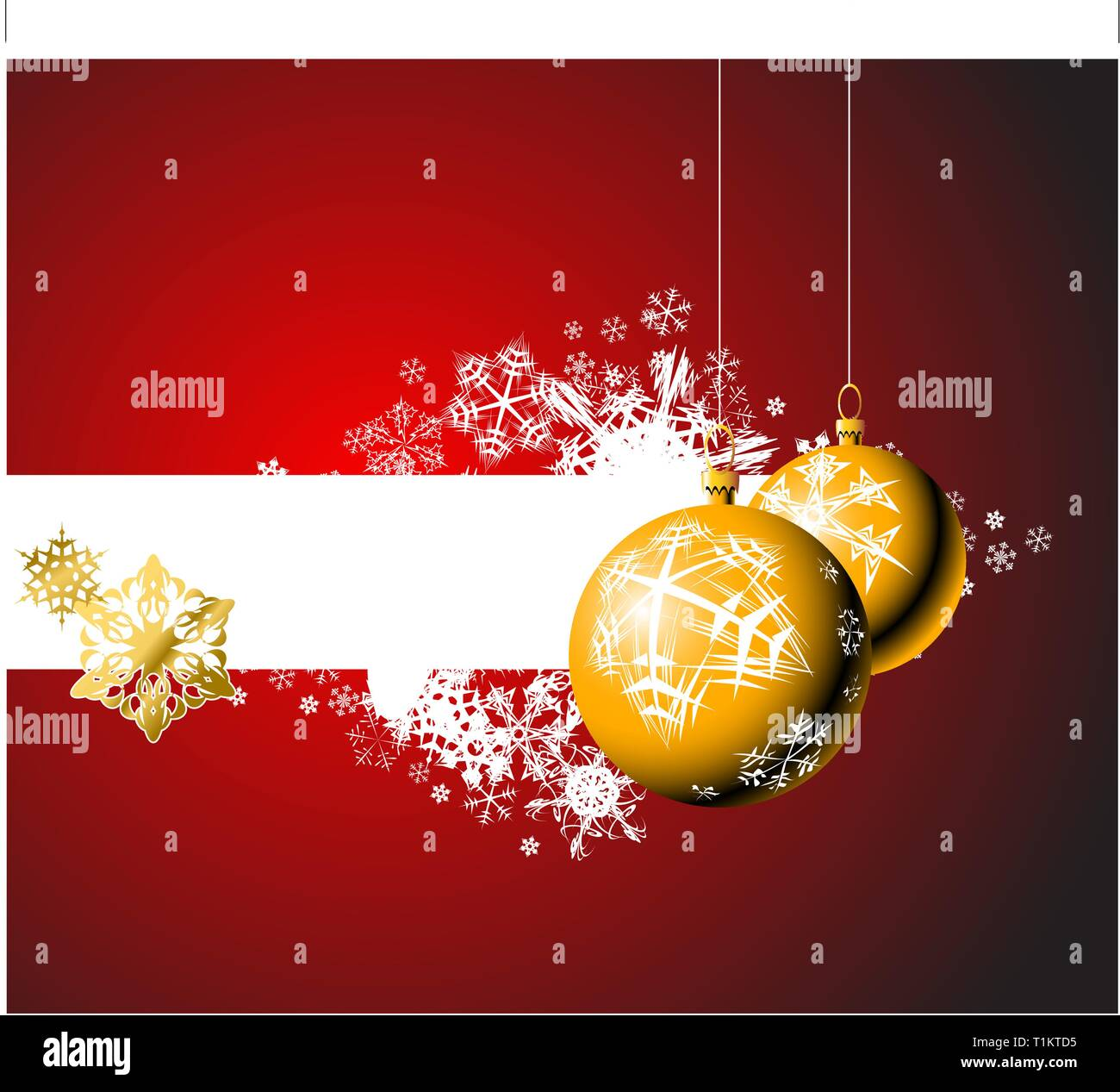 Christmas bulbs with snowflakes on red background - Stock Vector