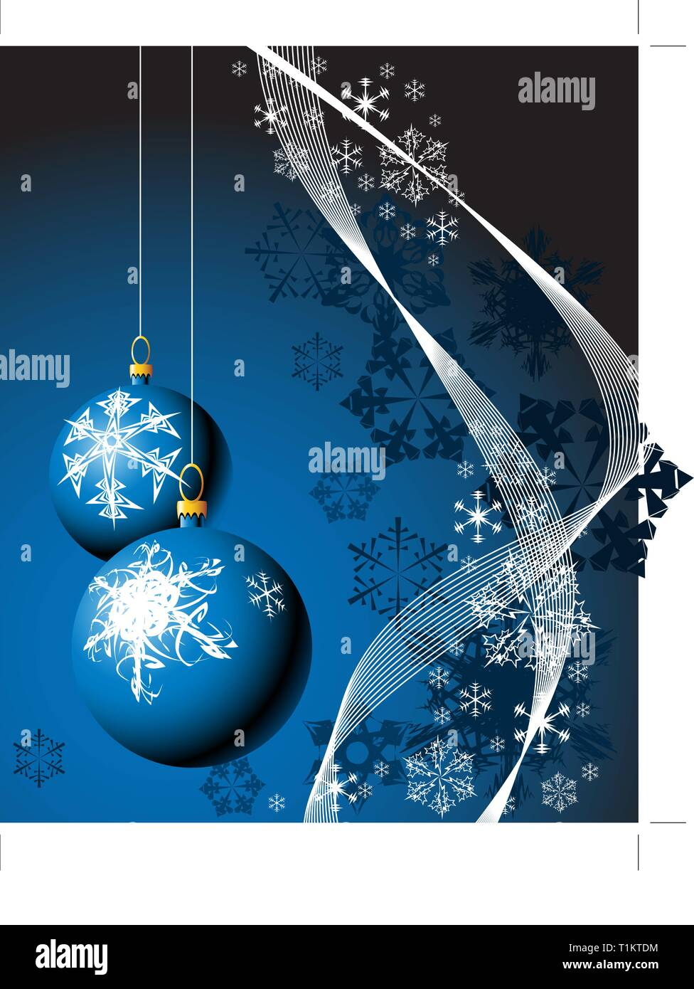 Christmas bulbs with snowflakes on blue background - Stock Vector