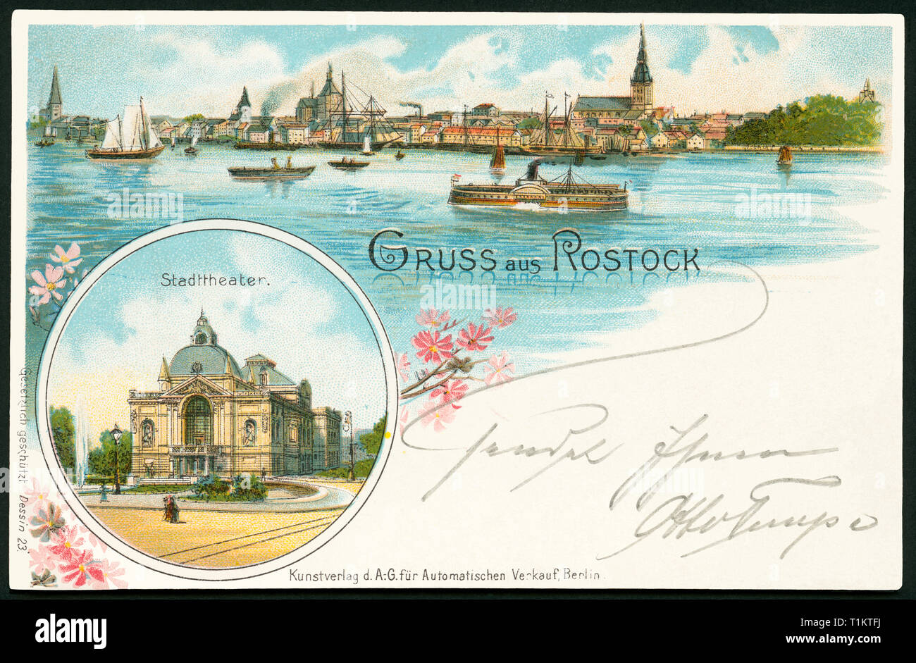 geography / travel, Germany, Mecklenburg West-Pomerania, Rostock, skyline and theatre, postcard, sent 1898., Additional-Rights-Clearance-Info-Not-Available - Stock Image