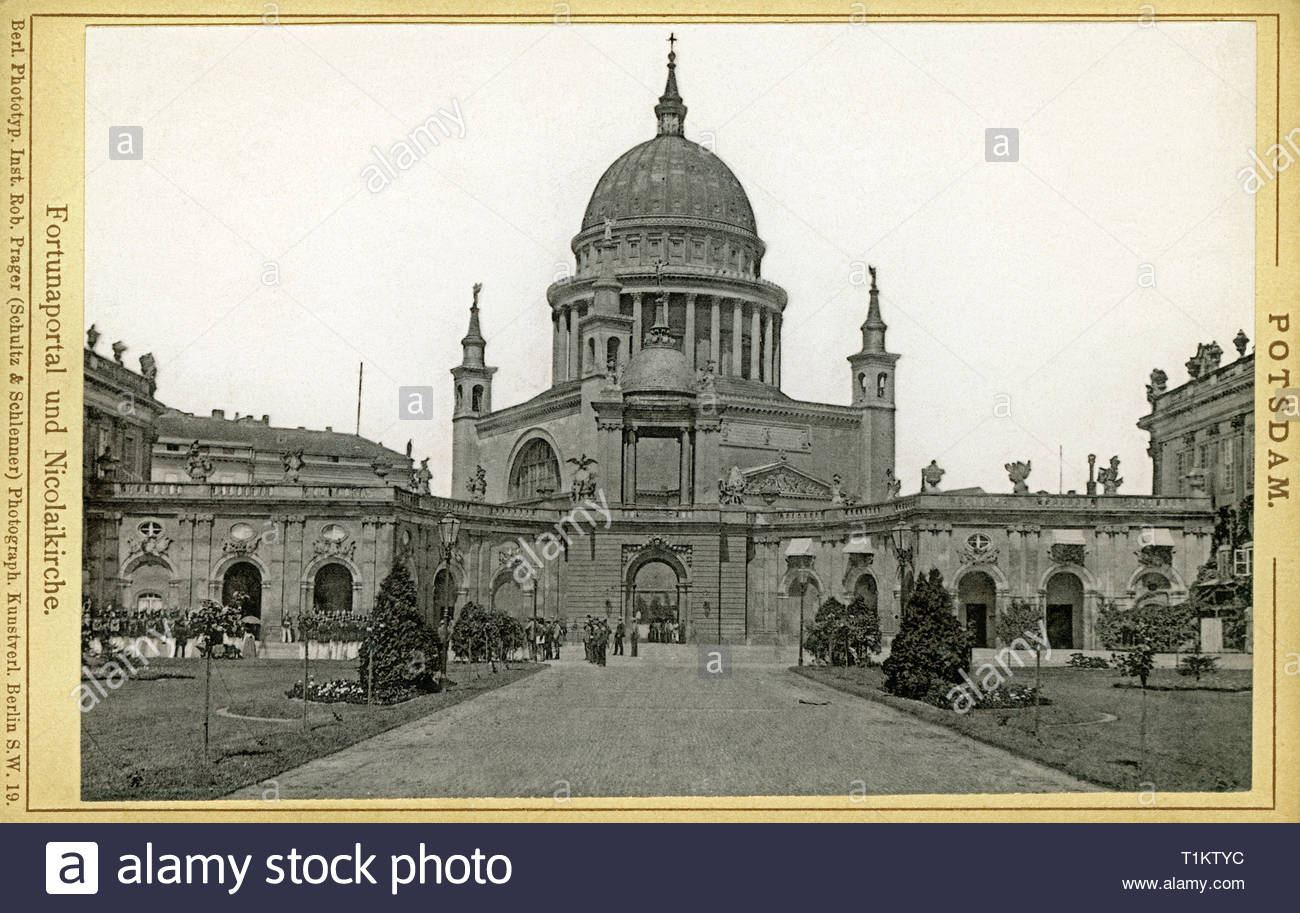 geography / travel, Germany, Brandenburg, Potsdam, the Gate of Fortune and St. Nicholas`Church, image from: 'Berl. Phototyp. Inst. Rob. Prager (Schultz and Schlenner), Berlin, around 1900., Artist's Copyright must also be cleared - Stock Image