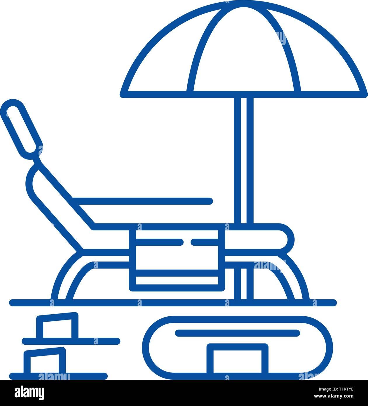 Summer rest line icon concept. Summer rest flat  vector symbol, sign, outline illustration. - Stock Vector