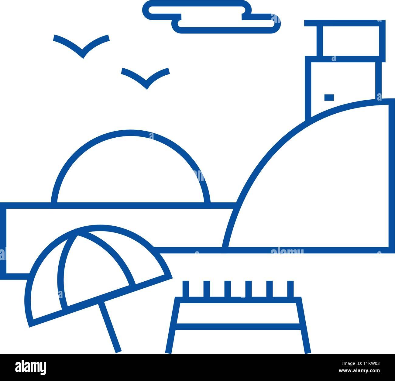 Sunday on beach,summer travel line icon concept. Sunday on beach,summer travel flat  vector symbol, sign, outline illustration. - Stock Vector