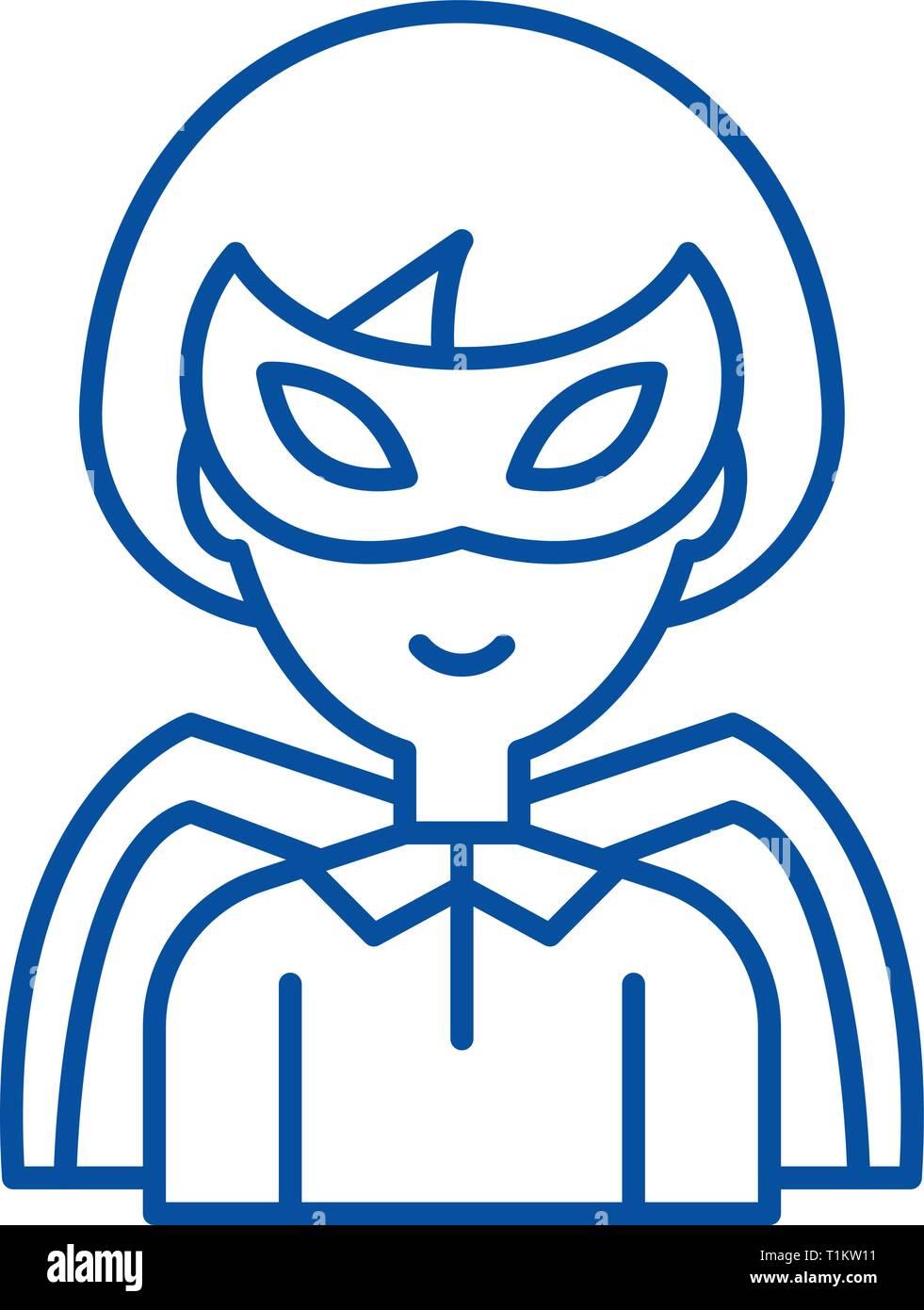 Super hero line icon concept. Super hero flat  vector symbol, sign, outline illustration. - Stock Vector