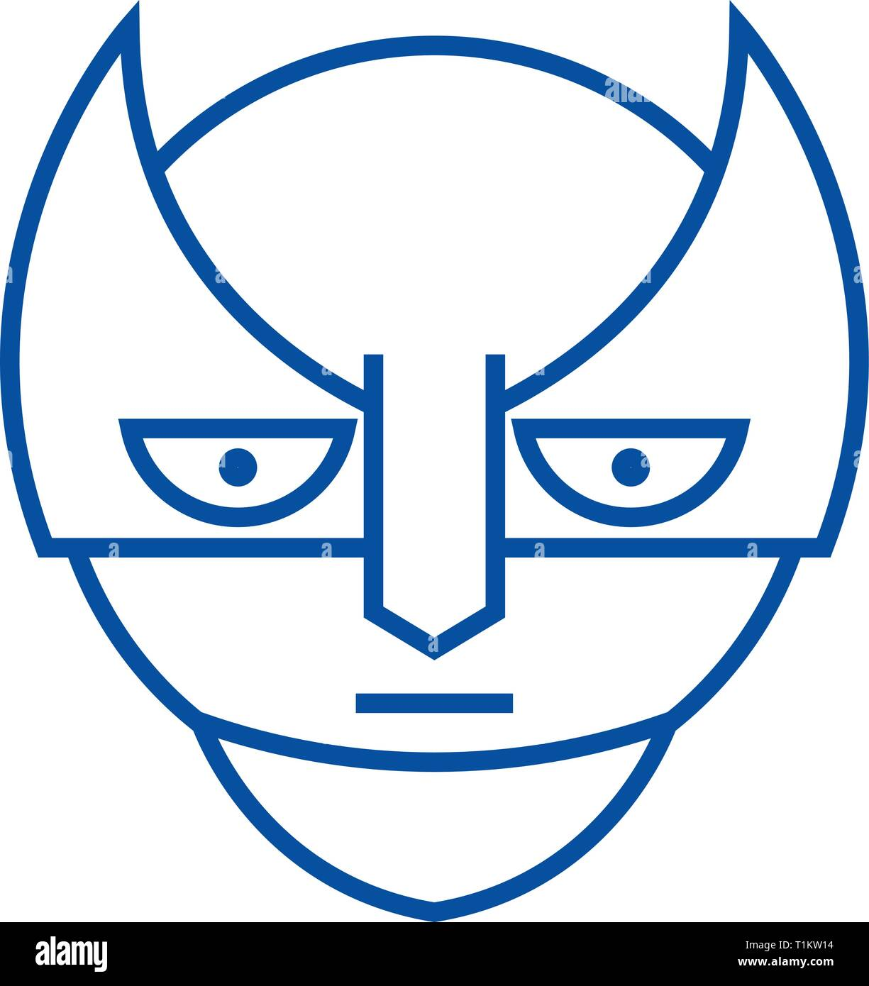 Super hero emoji line icon concept. Super hero emoji flat  vector symbol, sign, outline illustration. - Stock Vector