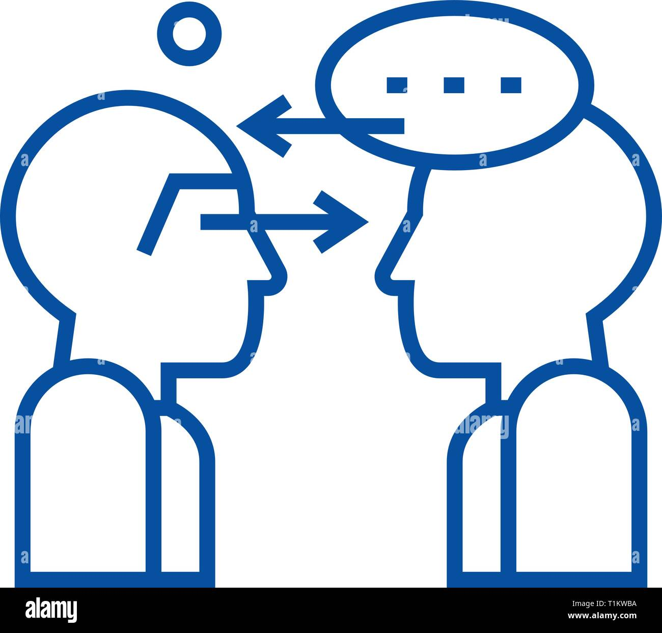 Synergy talks line icon concept. Synergy talks flat  vector symbol, sign, outline illustration. Stock Vector