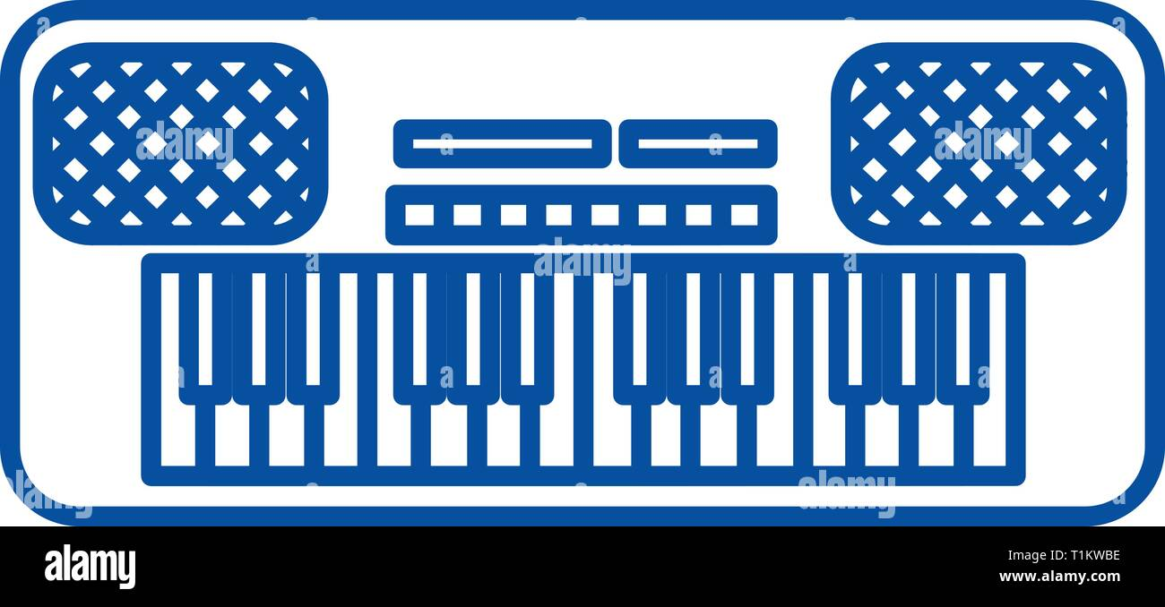 Synthesizer line icon concept. Synthesizer flat  vector symbol, sign, outline illustration. - Stock Image