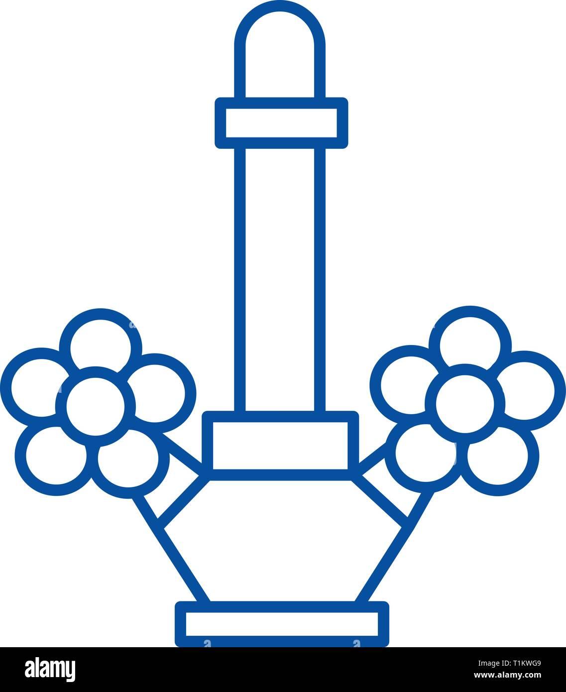Tap, water system illustration line icon concept. Tap, water system illustration flat  vector symbol, sign, outline illustration. - Stock Image
