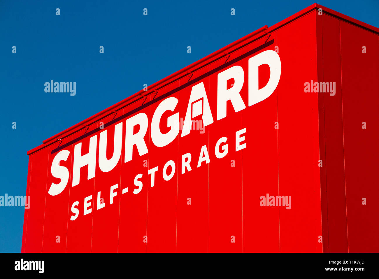 Shurgard self store ware house / self storage warehouse, and sign / signs for the self storage company. London. UK. (106) - Stock Image