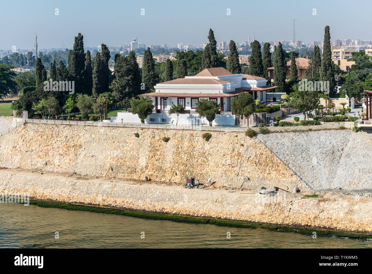 Ismailia Egypt November 5 2017 Mansion On The Shore Of Suez Canal In Ismailia City Egypt Africa Stock Photo Alamy
