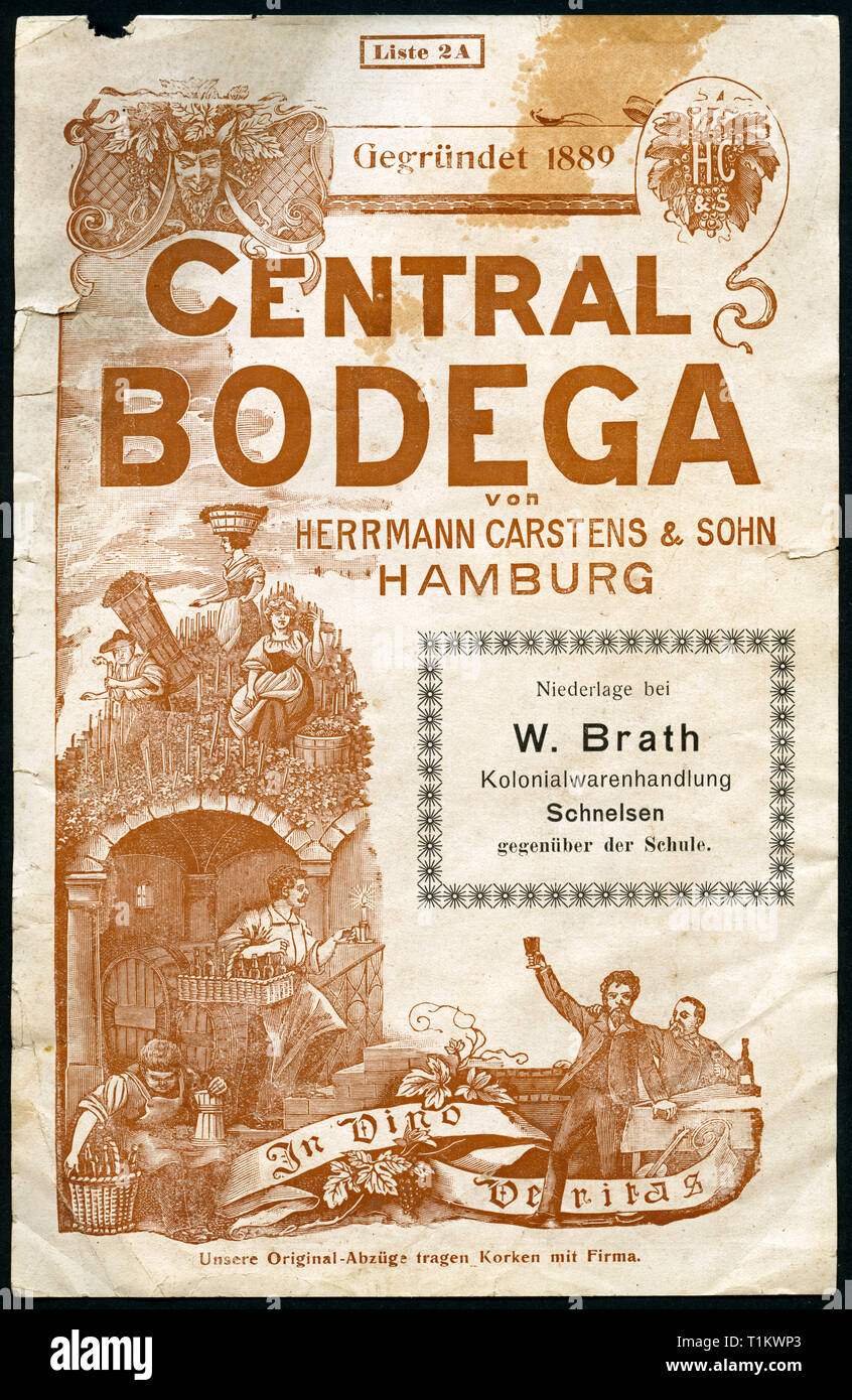 advertising,  Germany, Hamburg, Schnelsen, promotional brochure  / front page / of the shop ' Central Bodega ' of Herrmann Carstens, wine dealer, with the printing of the colonial product business of W. Brath in Schnelsen, around 1900-1920?, Additional-Rights-Clearance-Info-Not-Available - Stock Image