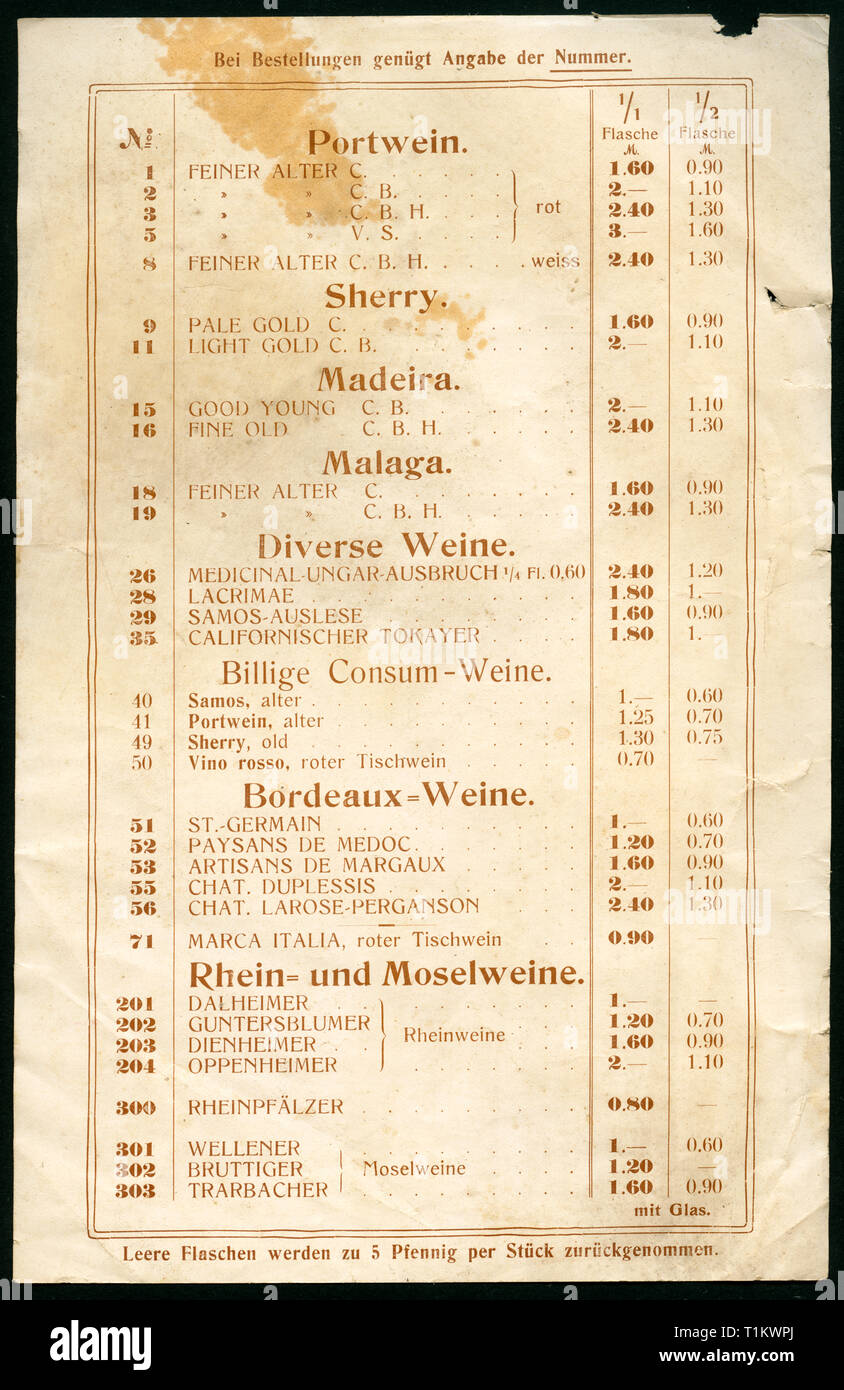 trade,  Germany, Hamburg, Schnelsen, promotional brochure, price list, / back page / of the shop ' Central Bodega ' of Herrmann Carstens, wine dealer, he sells his wine in the colonial product business of W. Brath in Schnelsen, 1900-1920?, Additional-Rights-Clearance-Info-Not-Available - Stock Image