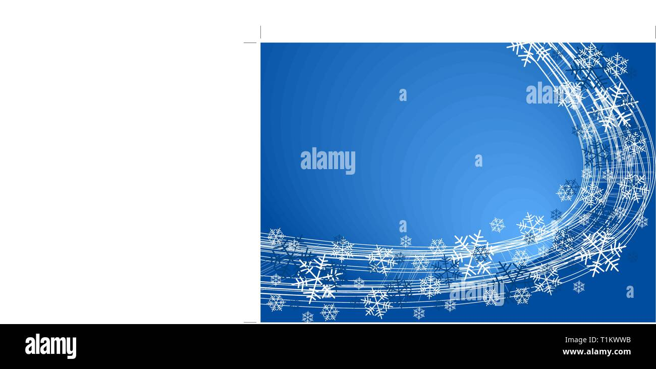Snow flakes background - white snowflakes on blue color - Stock Vector