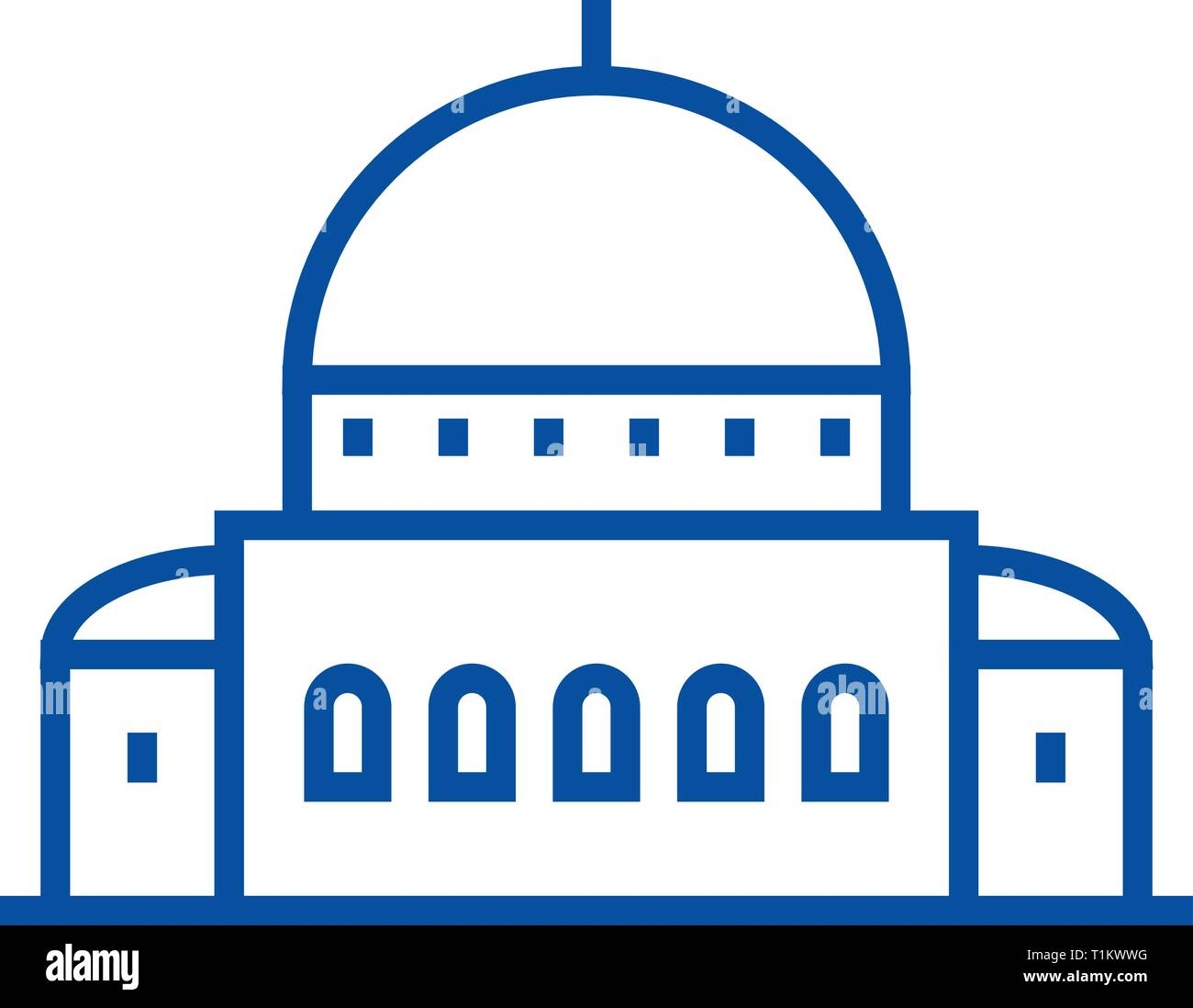 Temple,synagogue line icon concept. Temple,synagogue flat  vector symbol, sign, outline illustration. - Stock Vector
