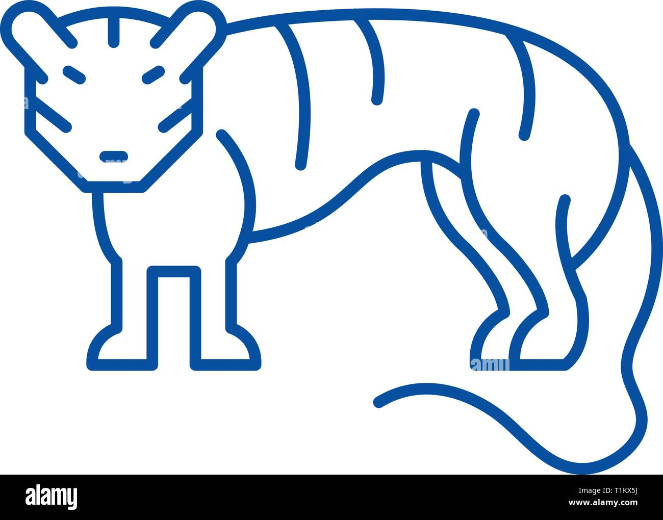 Tiger line icon concept. Tiger flat  vector symbol, sign, outline illustration. - Stock Vector