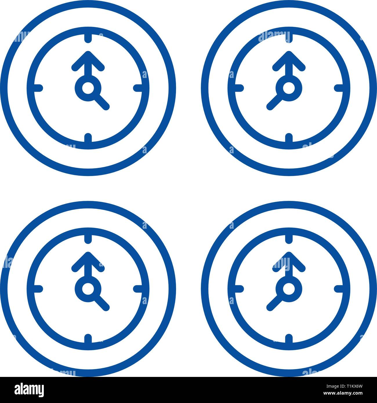 Time zones line icon concept. Time zones flat  vector symbol, sign, outline illustration. - Stock Image