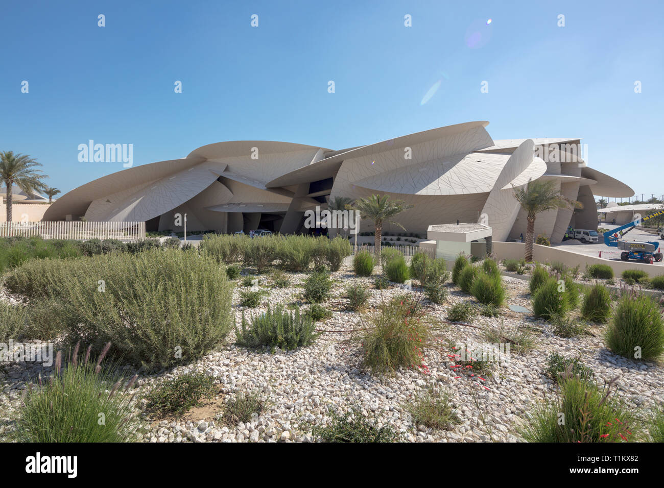 construction work on The National Museum of Qatar in Doha, Qatar,  just prior to its opening in March 2019 - Stock Image