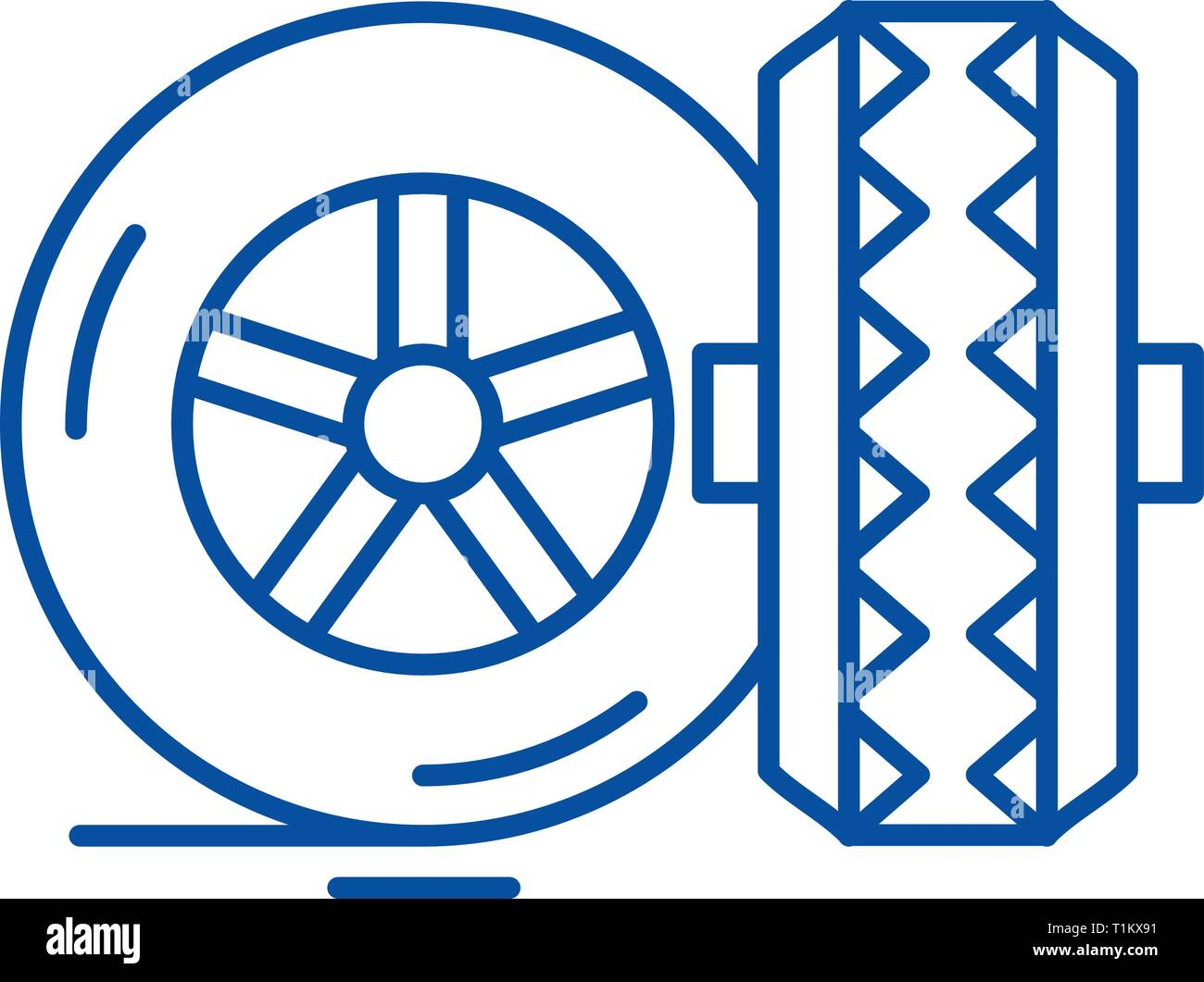 Tires line icon concept. Tires flat  vector symbol, sign, outline illustration. - Stock Vector