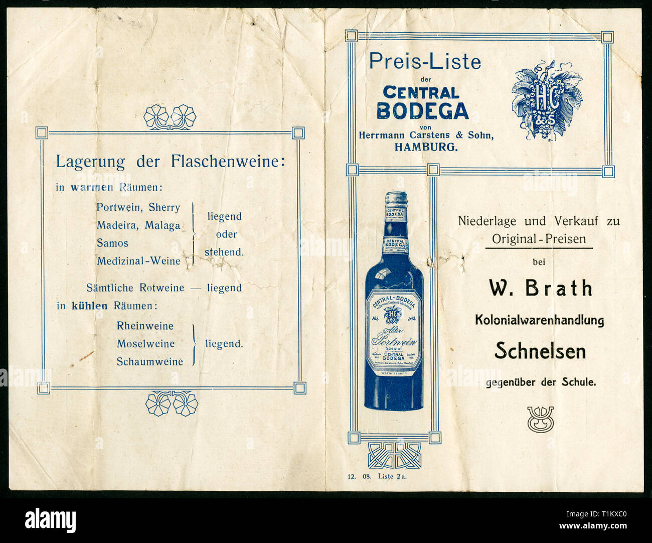 advertising, semiluxury,  Germany, Hamburg, Schnelsen, promotional brochure  / front page and back page / of the shop ' Central Bodega ' of Herrmann Carstens, wine dealer, with the printing of the colonial product business of W. Brath in Schnelsen, around 1900-1920, Additional-Rights-Clearance-Info-Not-Available - Stock Image