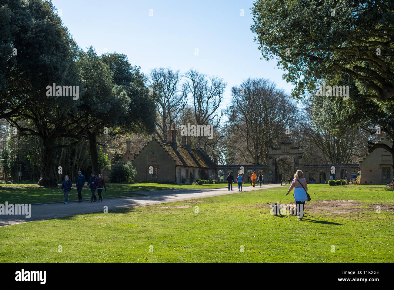 The walk from Holkham village to Holkham Hall North gate, North Norfolk, East Anglia, England, UK. - Stock Image