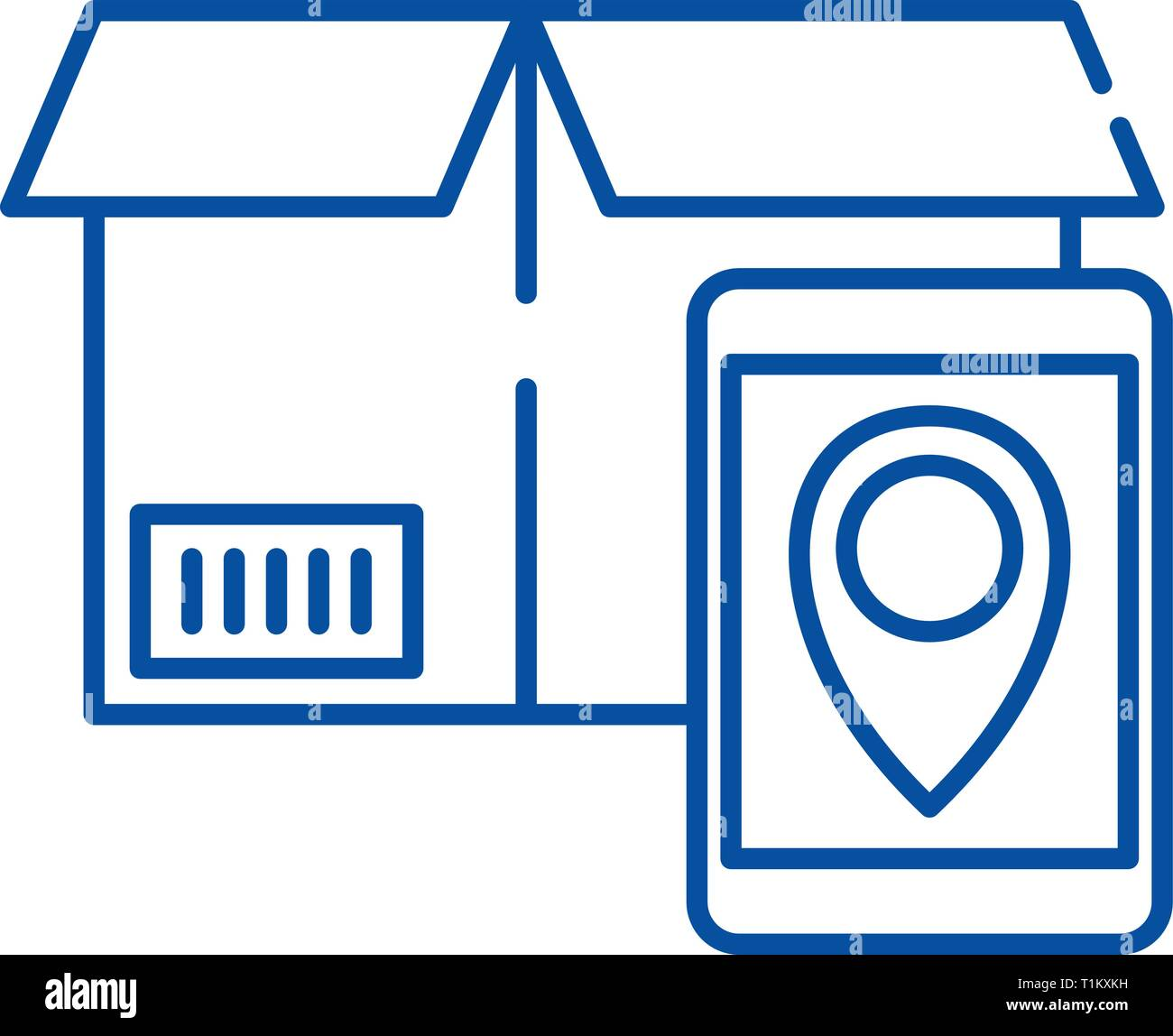 Tracking number line icon concept. Tracking number flat  vector symbol, sign, outline illustration. Stock Vector