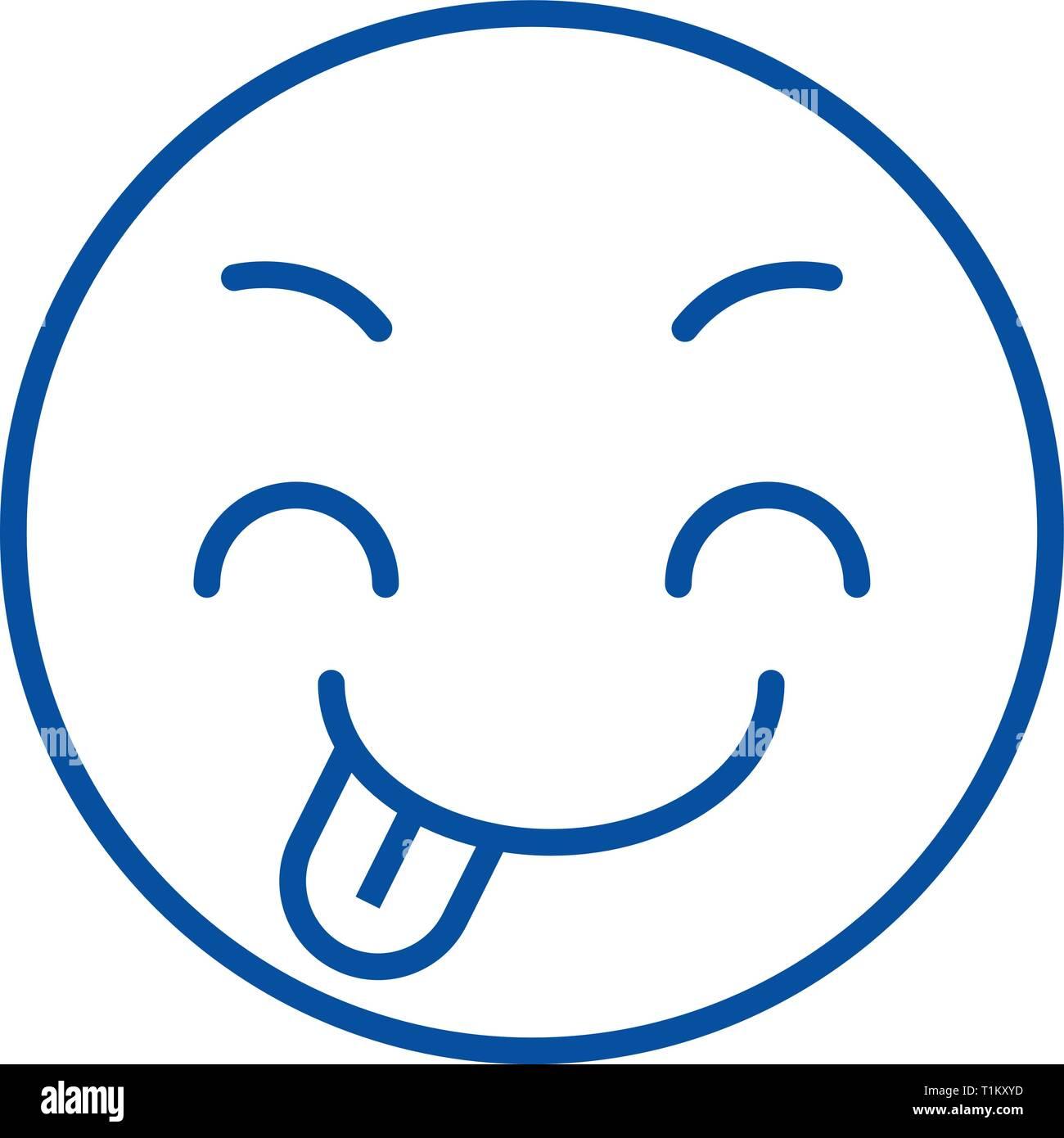 Tricky emoji line icon concept. Tricky emoji flat  vector symbol, sign, outline illustration. - Stock Image